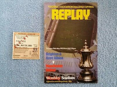 1983 - FA CUP FINAL REPLAY PROGRAMME + TICKET - BRIGHTON v MANCHESTER UNITED
