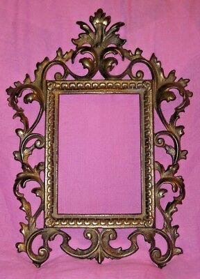 Beautiful Antique Solid Brass Picture Frame  WALL HANGING Ornate Victorian