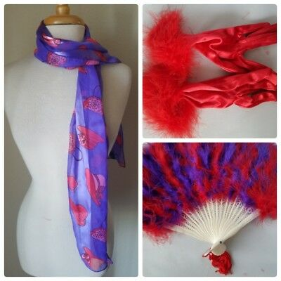 NWT Red Hat Society Lot 3 Fashion Accessories Neck Scarf Feather Fan & Gloves