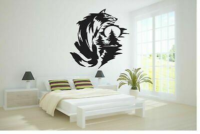Wall Vinyl Sticker Decals Art Decor At Night Tree Wolf The Moon #176