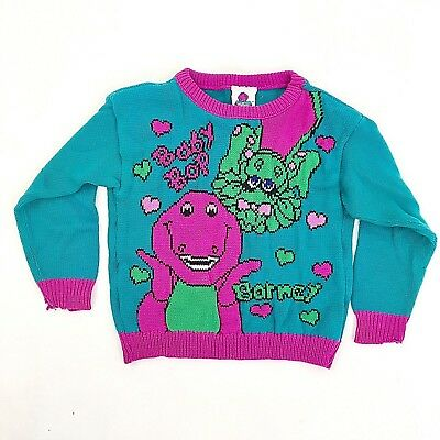 Vintage Barney  and baby Bop Purple Teal  Knit Sweater Size 3T 1992
