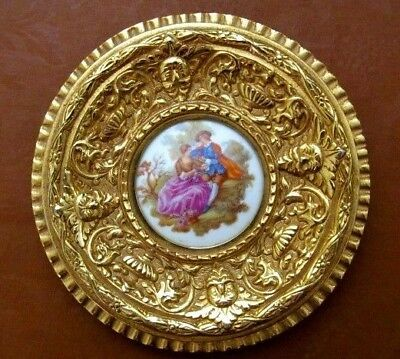 Vintage Heavy Ornate Brass Framed Porcelain Signed Fragonard Courting Scene-EUC