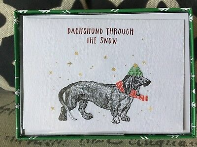NEW Box Of 15 Dachshund Through The Snow Christmas Cards Doxie Embellished Foil