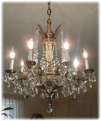Great Antique Brass Bronze & Crystal Empire Chandelier