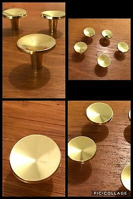 5 Knobs Pulls Round Bright Brass Tone Cabinet Drawer Bin Concave Vintage Retro