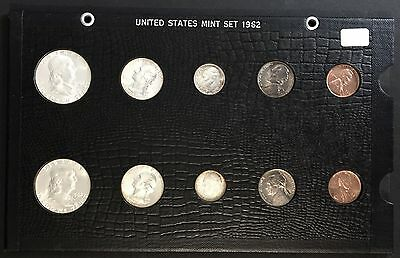 1962 PD Uncirculated US Coin Set In Nice Display Holder #UET#