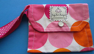 BABY PACIFIER BINKY Nuk CLOTH CARRY CASE HOLDER BAG wrist-strap SNAPS PINK DOTS