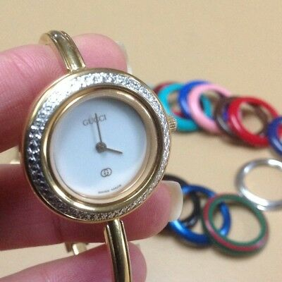 e1c459ea883 ... authentic gucci small size bangle watch interchangeable bezels diamond  ...