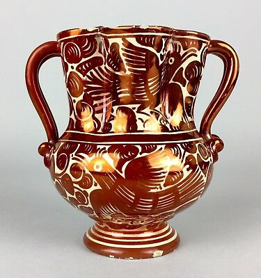 -CANTAGALLI POTTERY- C19th WILLIAM DE MORGAN STYLE PINK TWIN HANDLED LUSTRE VASE