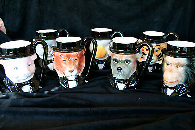 """Vintage Quon Quon ceramic coffee mugs LOT OF 7 animals in TUXEDOS  5 3/4"""""""