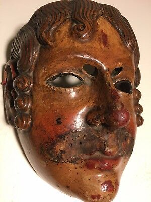 Antique, Turn of the Century, Ethnographic, Danced, Wooden Guatemalan Mask