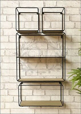 Set of 4 Wall Unit Retro Wood Industrial Style Metal Shelf Rack Storage Black