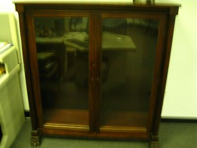 Antique Mahogany Double Door Bookcase with Claw Feet & Wavy Glass Doors