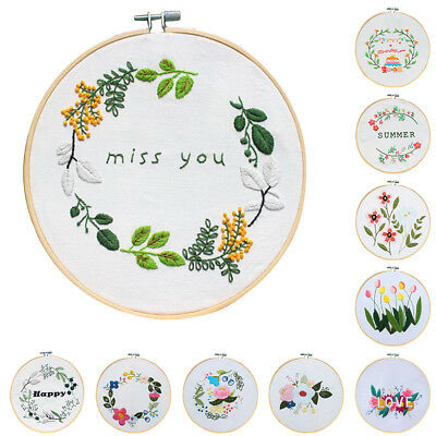 Flower Leaf Embroidery Cross Stitch Round Hoop Sewing Art Crafts DIY Decors