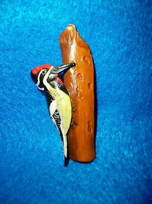 Pin,woodpecker, Yellow Bellied Sapsucker..carved Leather.