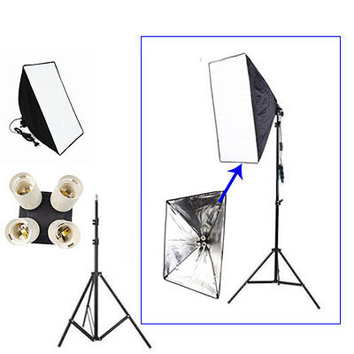 Photography ​Lighting Kit Softbox 50cm x 70cm + 4in1 E27 Lamp Head + Light Stand