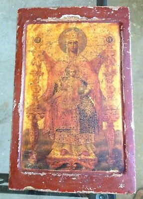 Old Russian  Icon Of The Mother Of God For Restoration