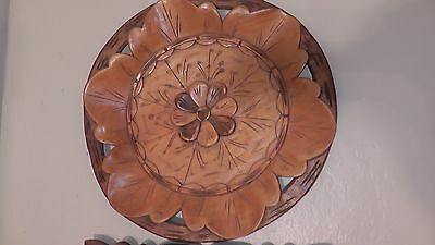 collector plate handmade wood fancy carved stained rare ? vintage floral