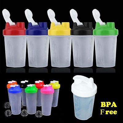 400ml Shake Bottle Protein Blender Shaker Mixer Cup Drink Whisk+Free Mixer Ball