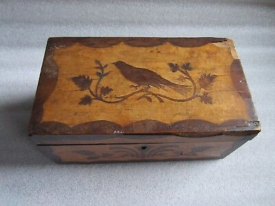 Original Antique 1800s American  Renaissance Revival Wood Marquetry Cigar  Box
