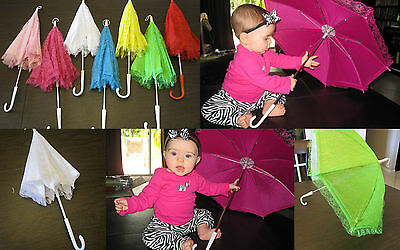 GIRL Child Fancy Lace Fabric PARASOL UMBRELLA Baby Bridal Shower Photo Prop