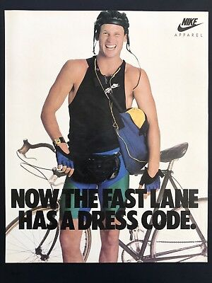 1988 Vintage Print Ad 80's NIKE Bicycle Cyclist Fashion Sports Style
