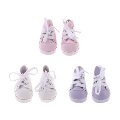 Pair of Rabbit Ear PU Leather Lace Up Sneakers for 18'' American Girl Dolls ACCS