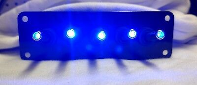 5 HOLE Black Powder Coat panel w/ 5 LED toggle switches - BLUE