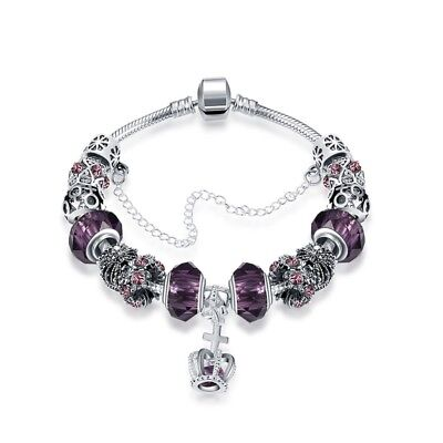 925 Sterling Silver plated Charm Bracelet with European Charms