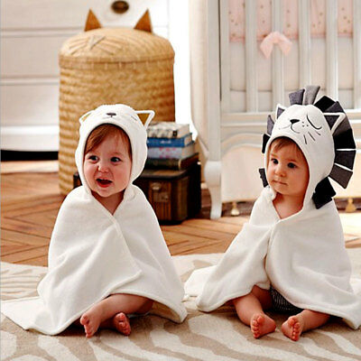 Unisex Baby Kids Toddler Hooded Bath Towel Bathrobe Lion Animal Bathing Wrap