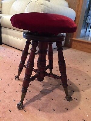 A. Merriam Co Victorian 19th Century PIANO STOOL w Claw & Ball Glass Feet SIGNED