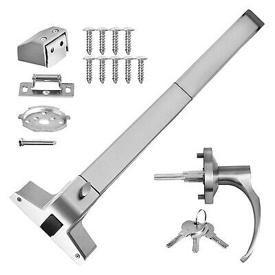 DOOR PUSH BAR WITH HANDLE PANIC EXIT DEVICE SILVER STAINLESS STEEL SAFETY Hot