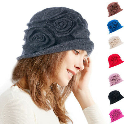 bf8264c050fc2 Womens Two Floral 1920s Winter 100% Wool Cap Beret Beanie Cloche Bucket Hat  A287