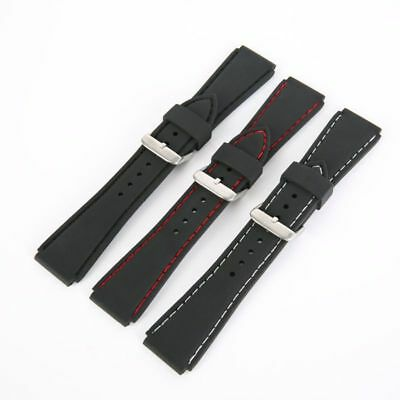 US 18 20 22 24mm Waterproof Mens Silicone Rubber Dive Watch Band Belt Strap Band
