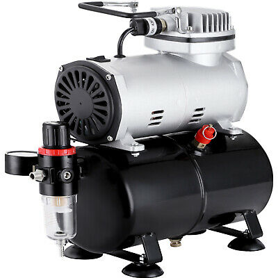 1/6HP Airbrush Compressor Kit Dual Action Air Brush Spray Gun 3 Needles Art Set
