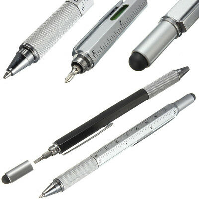 Multifunction 6in1 Touch Screen Stylus Ballpoint Pen With Ruler Screwdriver Tool