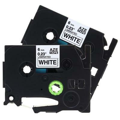 2pk TZe211 Label Tape Cassette Compatible for Brother P-Touch Black on White