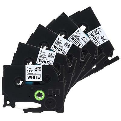 5pk Label Tape Cassette TZe211 Compatible for Brother P-Touch Black on White