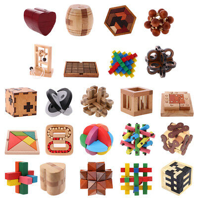 3D Wooden Puzzles Brain Teaser Games Educational Toys for Kids Adults 23 Types