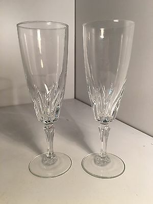Pair Tall Champagne Flutes Glasses, Perfect Toasting  Wedding Coupes Diamond cut