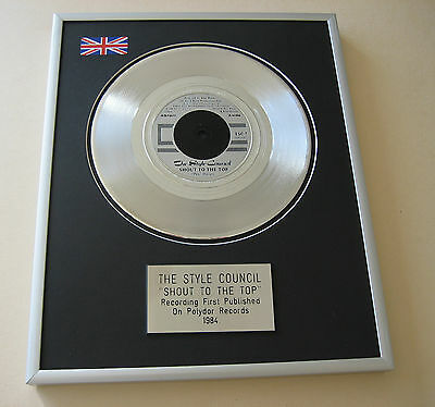 Paul Weller THE STYLE COUNCIL Shout To The Top PLATINUM SINGLE DISC PRESENTATION
