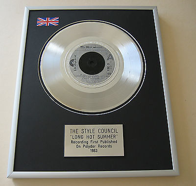 Paul Weller THE STYLE COUNCIL Long Hot Summer PLATINUM SINGLE DISC PRESENTATION