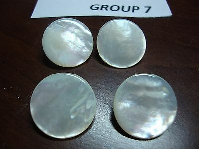 4 Antique Mother Of Pearl Button Brass Shank 7/8 Inch Diameter 19th Century