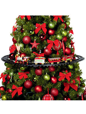 Mounted Christmas Tree Train Set Light Up Realistic Sounds Xmas Round Track
