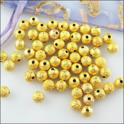 35 New Charms Loose Round Ball Copper Brushed Spacer Beads Gold Plated 8mm