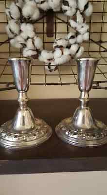 Vintage Pr Poole Sterling Silver Candle Stick Holders-no monogram 40 Candlestick