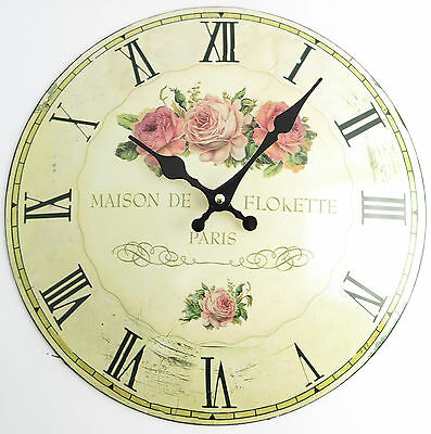 Wall Clock Roses 2 Nostalgia Shabby Chic Metal Domed Sheet Country House Style