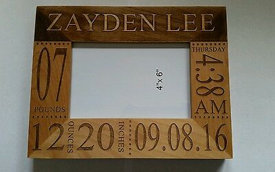 Personalized Engraved 4x6 picture frame newborn baby Birthday Christmas Gift