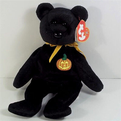 "TY HAUNTS Beanie Baby BEAR Plush w/ TAGS 8"" Tall 2000 / 2001 Hang Tag HALLOWEEN"