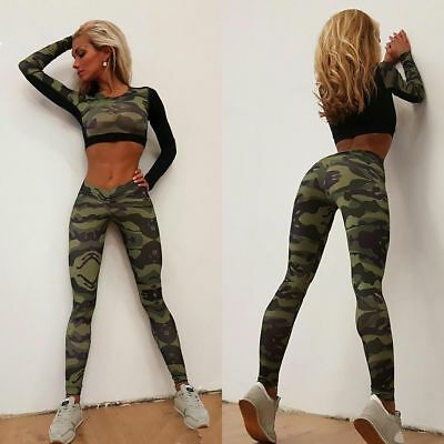 Women Camouflage Workout Tracksuit Fitness Gym Yoga Sports Crop Top&Pants 2PCS
